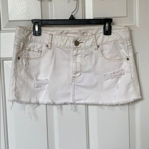 American Eagle destroyed white denim mini skirt